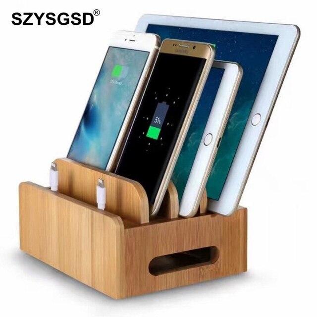 Bambu çok cihaz kabloları şarj istasyonu dock tutucu standı iPhone 8X7 6 ve tabletler İçin samsung Galaxy Dock