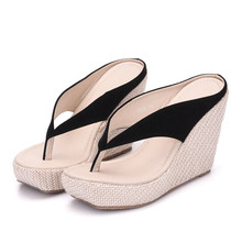 2018 Summer New Comfortable Thick Bottom Wedges Shoes Outdoor Beach Fashion Simple And Mature Woman Slippers XY-A0138