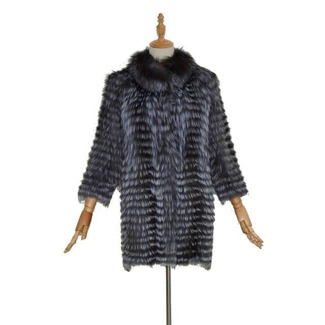 Nature silver fox fur coat jacket women real fur coat Spring and autumn thin three quarter fashion slim fur.
