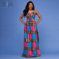 Yilia 2018 Women Long Dress Summer New Fashion African Print Dashiki Maxi Party Dresses Deep V