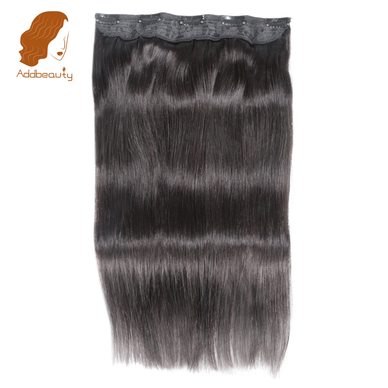 Addbeauty 14-22 Straight Full Head Clip in Machine Made Remy Hair Extensions 70g 5 Clips in 1 piece Human Hair