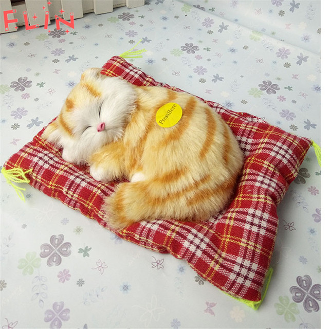 Simulation  Stuffed Cats Home Decorations Toys Lovely Animal Doll Plush Lazy Sleeping Gifts Fiesta Plush Toy With Sound Crafts 3