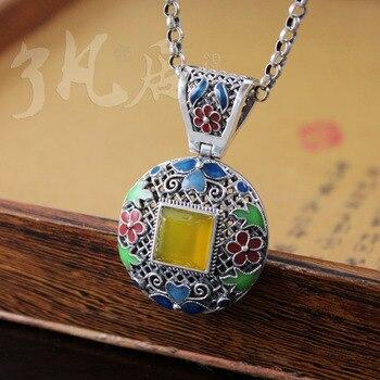 2 colors 27*41MM famous brand 925 silver women jewelry retro lock pendant Natural yellow chalcedony semi-precious stones