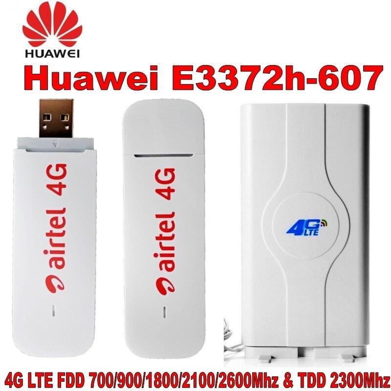 Original Huawei E3372 4G clé USB E3372h-607 avec antenne 150 Mbps 4G LTE USB dongle datacard avec antenne CRC9