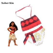 New 2017 Girls Cartoon Moana Swimsuit Summer Beachwear For Girls Two-Pieces Swimming Suits Children Girls Swimsuit G2-K375