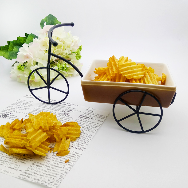 Creative Brike French Fries Plate Set Ceramic Dessert Pastry Food Tray Fast Food Holder Christmas Decortation Fruit Salad Bowl