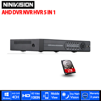 4CH 1080p Full 960P 720P 960H Real Time CCTV Video Recorder AHD DVR NVR 4 Channel