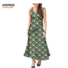 2018 casual spring african dress for women AFRIPRIDE sleeveless button front fly ankle-length handmade women dress A7225155