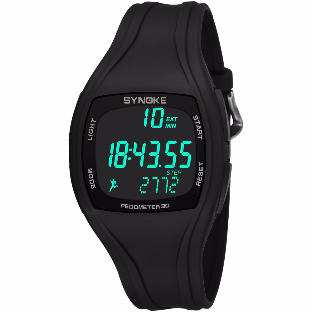 Mens Smart Pedometer Calories Chronograph Watch Fashion Outdoor Sports Watches 50M Waterproof LED Digital Wristwatches With Box