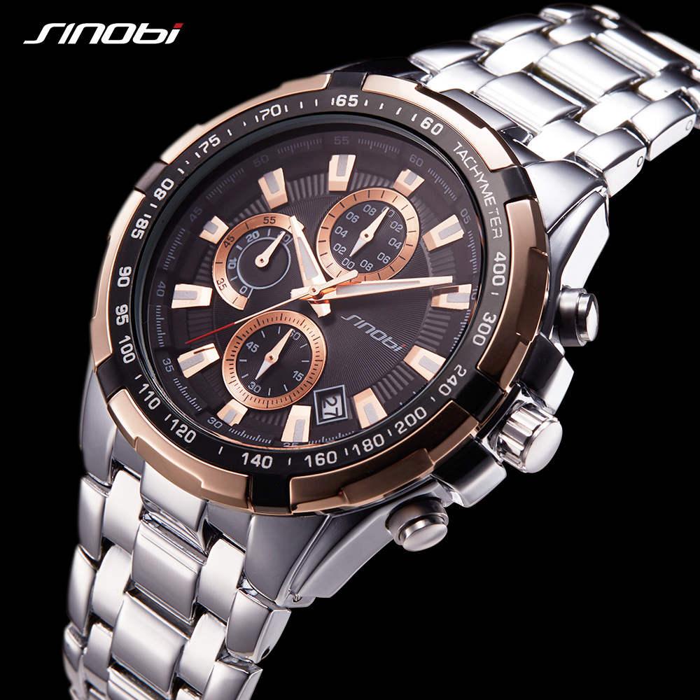 SINOBI Men Watches 2017 Luxury Brand Chronograph Luminous Stainless Steel Business Quartz Sport Waterproof Clock Male Watch xfcs  jedir brand watches men luxury business stainless steel quartz watch chronograph luminous clock male sports waterproof watches