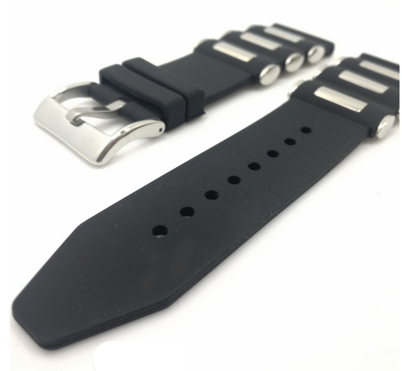 1PCS 20MM 22MM 24MM 26MM Rubber Watch band watch strap watch parts black color available -0328-1WS eache 20mm 22mm 24mm 26mm genuine leather watch band crazy horse leather strap for p watch hand made with black buckles