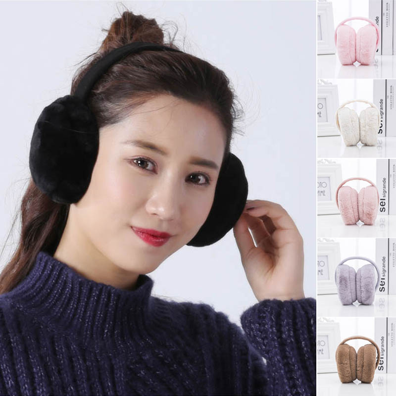 Earmuffs Plush Warm Foldable Christmas Gifts Solid Color Ear Warmers For Winter TS95