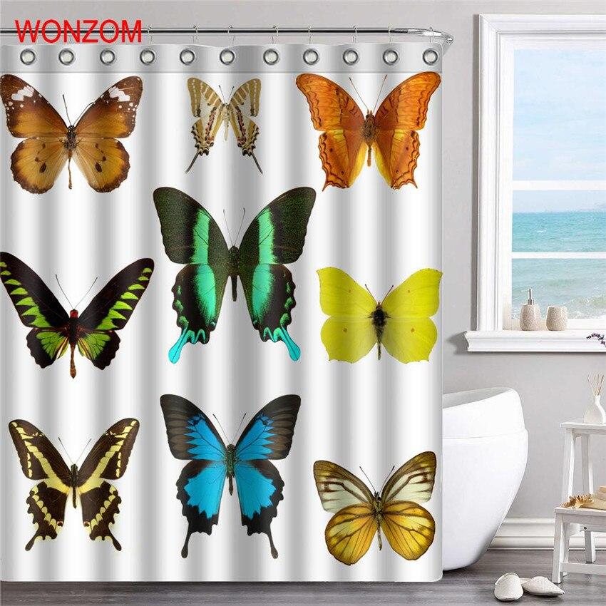 WONZOM 3D Butterflyl Shower Curtains with 12 Hooks For Bathroom Decor Modern Bath Waterproof Curtain New Bathroom Accessories in Shower Curtains from Home Garden