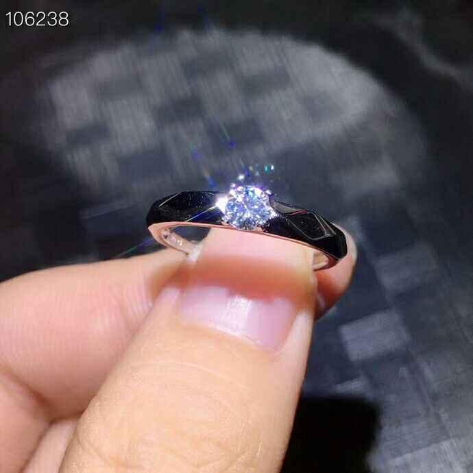 MeiBaPJ 4 مللي متر التألق المويسانتي الأحجار الكريمة الكلاسيكية خاتم بسيط للنساء 925 الاسترليني الفضة غرامة مجوهرات الزفاف