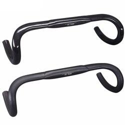 Matowy/błyszczący pełny 3K z włókna węglowego 31.8mm kierownica rowerowa rowery szosowe Bent Bar części rowerowe 400mm 420mm 440mm