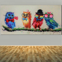 Large Size Hand Painted Abstract philosopher Loverly Owl Oil Painting On Canvas Animal Art Wall Picture Living Room Home Decor