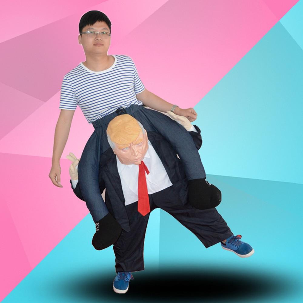 Costumes fantaisie Cosplay Ride sur DT Donald Trump porter un pantalon avec de fausses jambes humaines Halloween fête drôle Costume