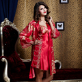 XIFENNI Marca Mujeres Robe Sets de Dos Piezas Pijama de Raso de Seda Albornoces Noble Bordado ropa de Dormir de Seda de Imitación De Novia 520L2