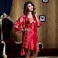 XIFENNI Marca Mulheres Robe Define Dois-Peça Pijama Roupões De Cetim De Seda Nobre Imitação de Seda Bordado Sleepwear Para A Noiva 520L2