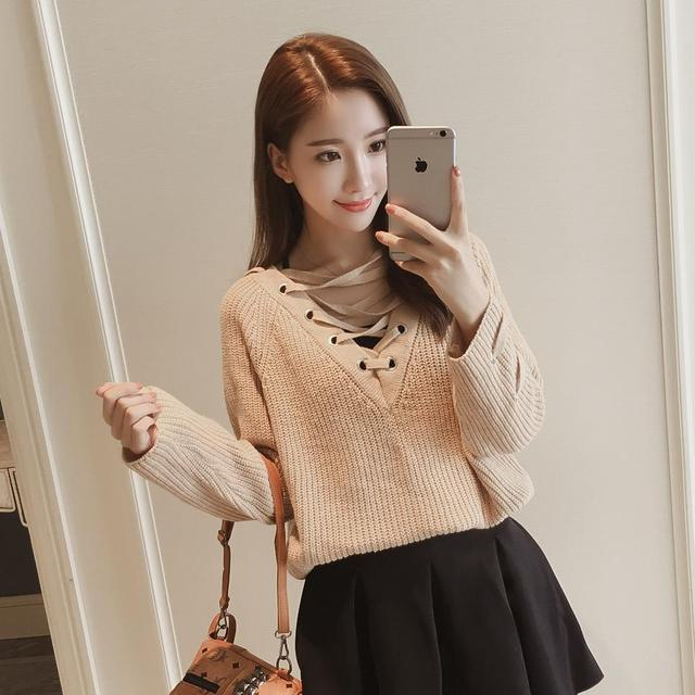 f7c5671912 Boho Lace Up Front Sweater Women Solid Long Sleeve Casual Jumper Fall 2017  Fashion Vintage Cut V Neck Loose Sweater