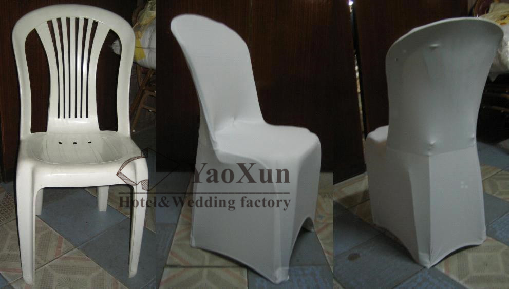 good price white color spandex chair cover used for plastic furniture covers chairs