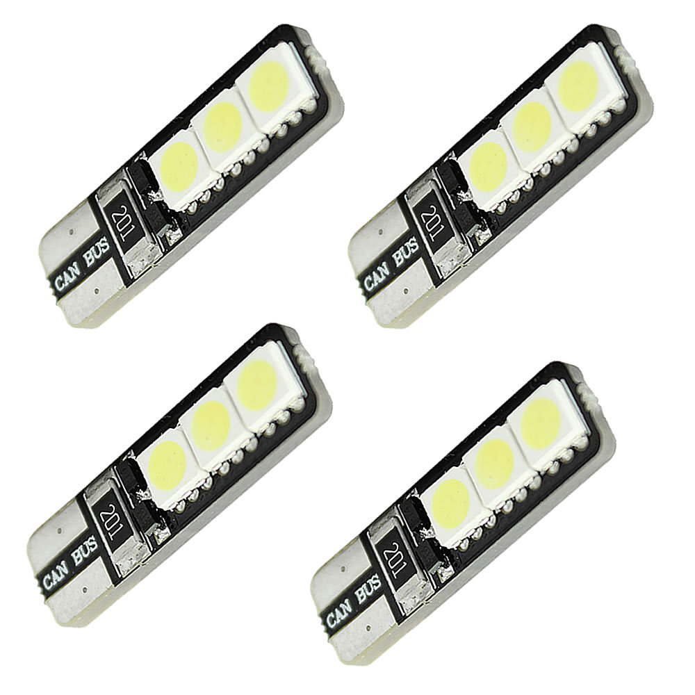 4x Canbus Error Free T10 194 168 W5W 5050 LED 6 SMD White Side Wedge Light Bulb cyan soil bay 1x canbus error free white t10 5630 6 smd wedge led light door dome bulb w5w 194 168 921 interior lamp