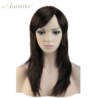 SNOILITE 20 Cosplay Wig Synthetic Long Straight Halloween Costume Fancy Dress Party Wigs Black