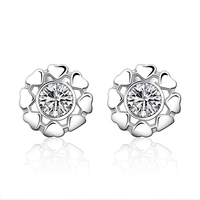 925sterling silver jewelry loverly small heart around big white crystal stone earring stud for women  fashion trendy jewerly