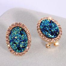 Женские круглые серьги гвоздики с кристаллами e1720
