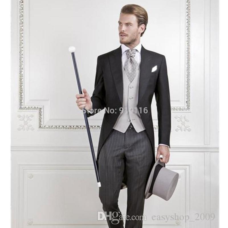 Bien connu Costume sur mesure fait Italien laine Noir Matin suitWedding  LF42