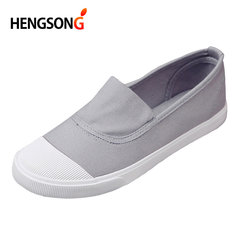 d013b6ba0206 HENGSONG Canvas Student Flat Comfortable White Shoes Women Basic Casual  Solid slip on Canvas Summer Walking Shoes Female 911255-in Women s Flats  from Shoes ...