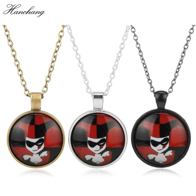 DC Comics Movie Anime Jewelry Suicide Squad Harley Quinn Pendant Neck Marvel Necklace Chain Girl Cartoon Necklace Teenagers Gift