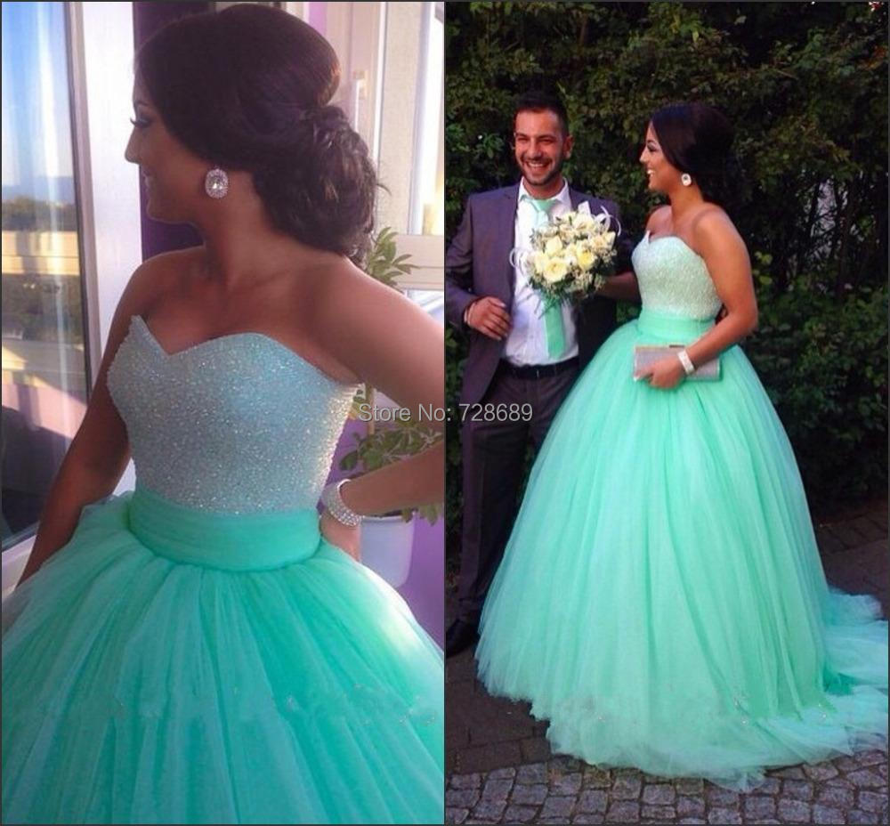Sparkly Ball Gowns Pageant Dress Sequins Beaded Bodice Corset Mint ...