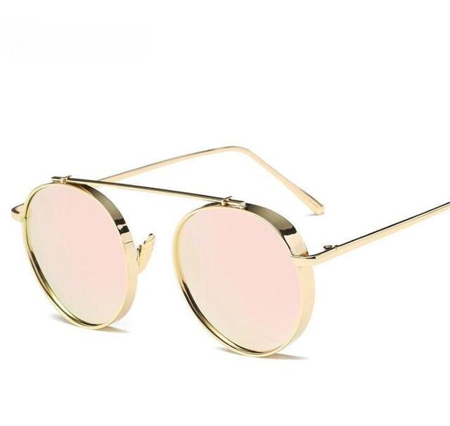 58347378c Óculos De Sol redondos STEAMPUNK Estilista do punk do vapor DO VINTAGE  Mulheres óculos de Sol