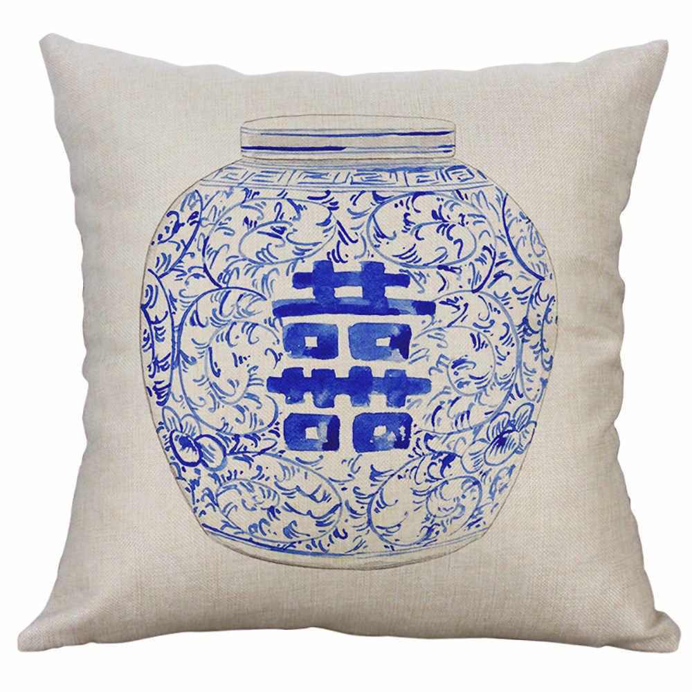 Almohadas de estilo chino azul y blanco florero silla cojín funda de almohada de lino de algodón 45x45 cm fundas de almohada