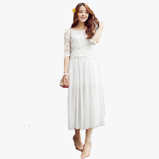 Bohemian chiffon beach long dress 2015 princess vintage white party ...