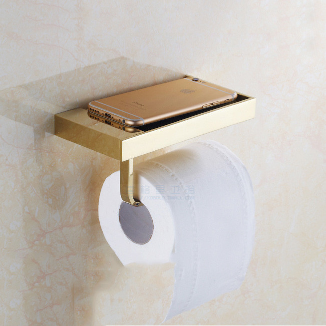 Bathroom Wall-Mount Tissue Holder/ Toilet Paper Holder, Golden Brass For Mobile phone holder  08-029-2