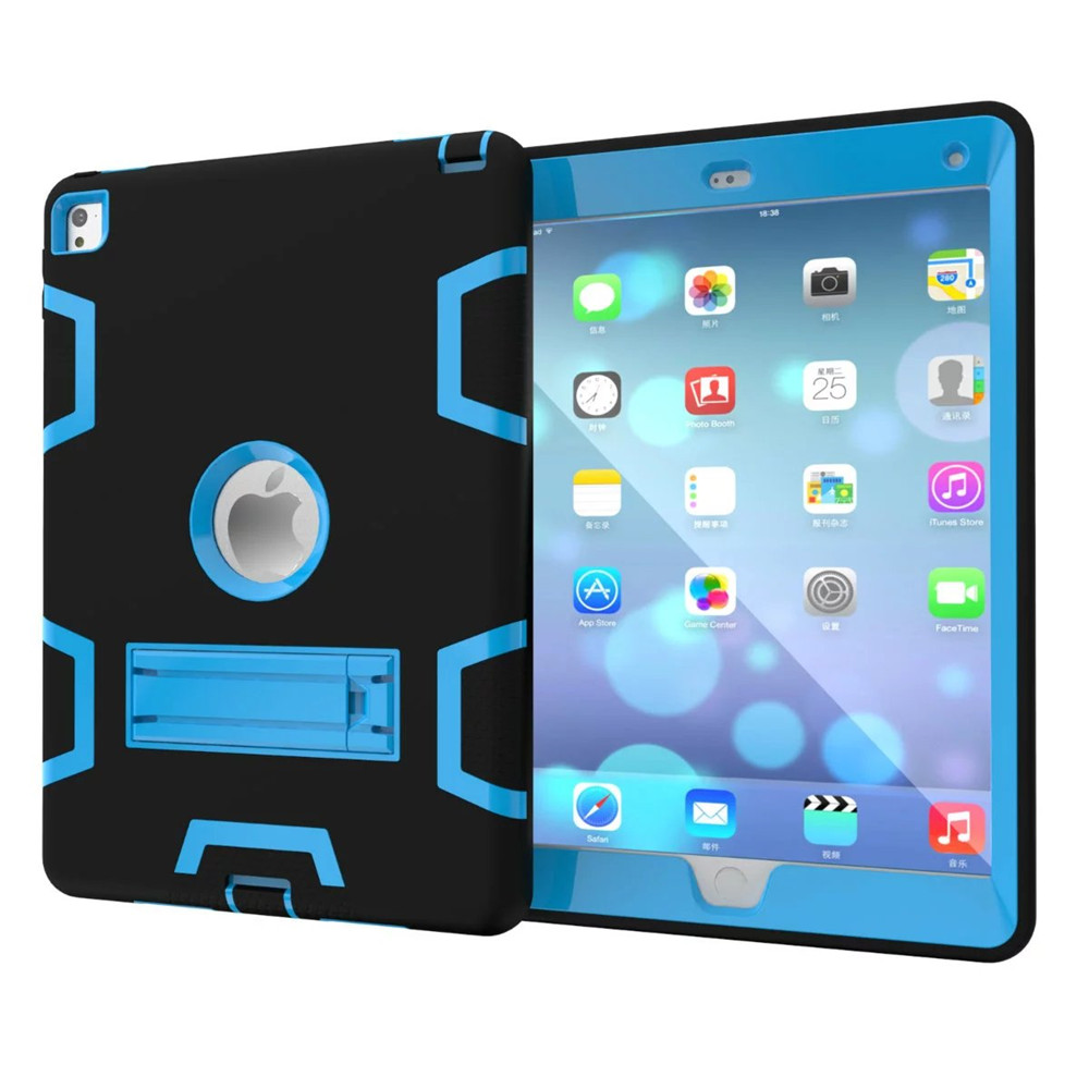 Hot sell Hybrid Armor Case for ipad pro 9.7 inch Kids Safe Shockproof Heavy Duty Silicone Rubber Hard PC Stand Back Case Cover