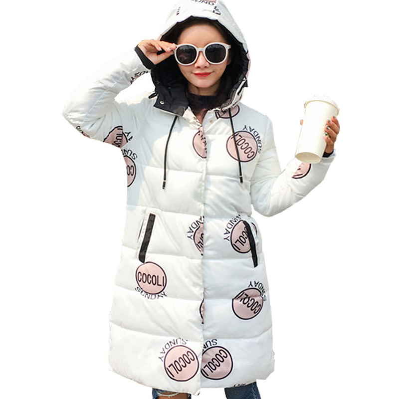 New Women Medium Long Parkas 2017 Autumn Winter Long Sleeve Hooded Letter Printing Casual Thick Warm Jacket Casacos Femininos