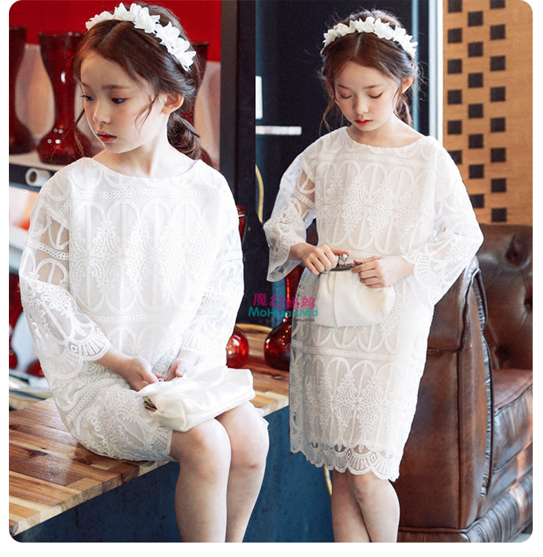 Baby Girls Clothing 2019 Spring/summer New Girls White Evening Dress Personality Loose Long-sleeved Silk Yarn Princess Dress