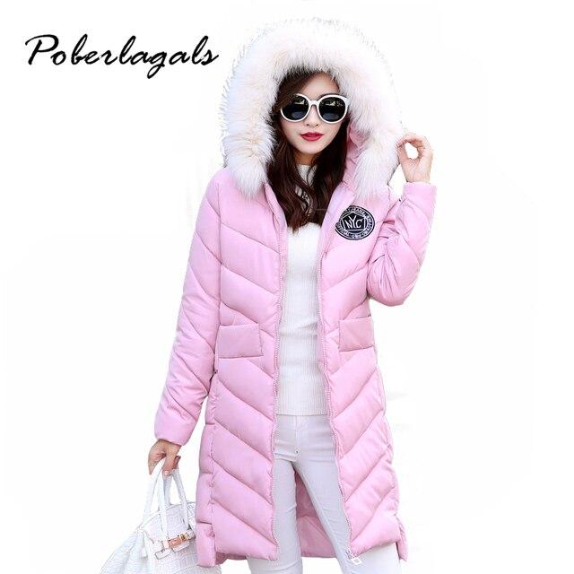 Inverno 2016 Moda gola de pele Casaco Grosso do sexo feminino Com Capuz Nagymaros Magros mulheres longas de Neve de algodão acolchoado para baixo Casacos jaqueta outwear
