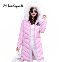 Winter 2016 Fashion Thick female Coat Hooded Slim Nagymaros fur collar women long cotton Snow padded down jacket Coats outwear