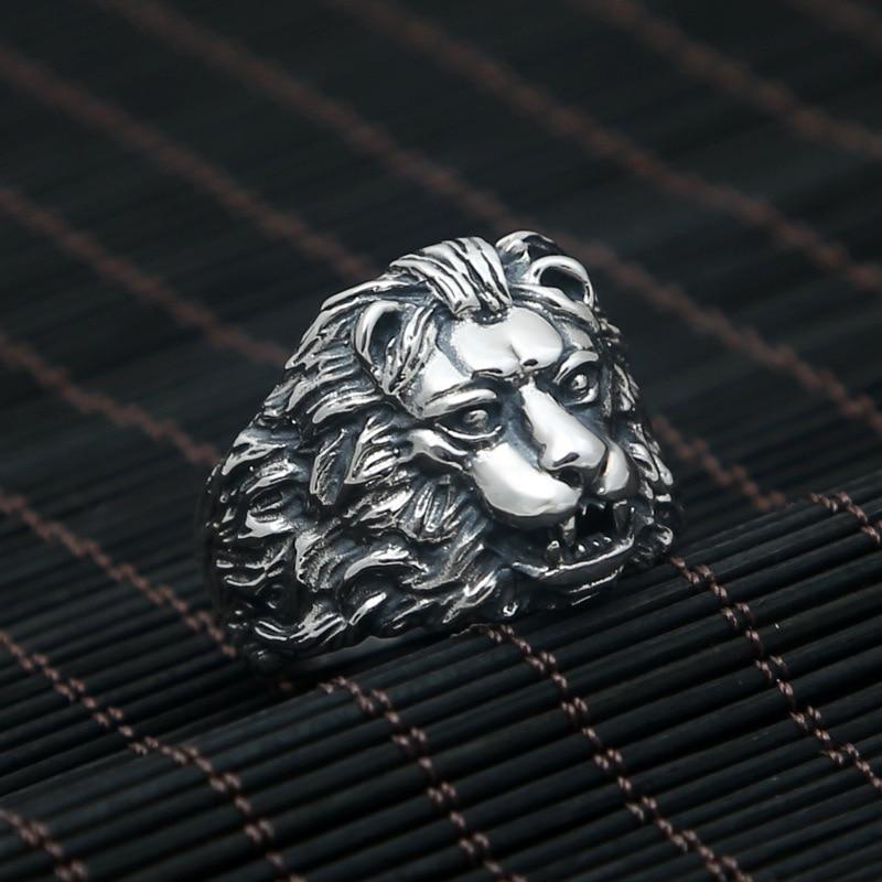 Vintage 925 en argent Sterling hommes Animal anneau Lion roi personnalité dominatrice hommes bijoux Bijouterie Fine
