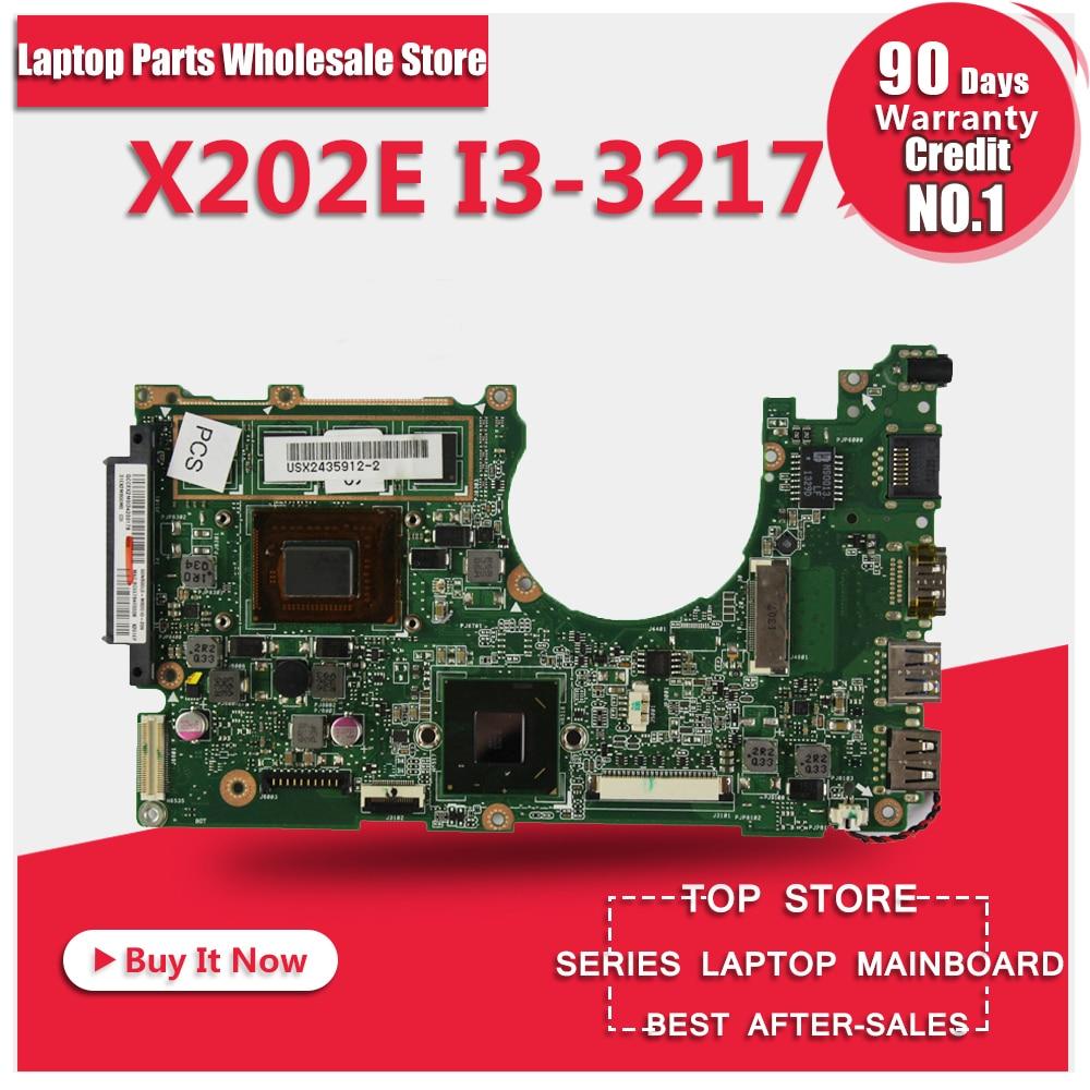 For ASUS X202E Q202E S202E Laptop Motherboard REV 2.0 i3-3217U RAM 60-NFQMB1B01-A05 Tested OK for asus l50vn x57v m50vc m50vm m50v motherboard npcmb1100 a05 npcmb1500 a02 mainboard m50vm rev 2 0 pm45100