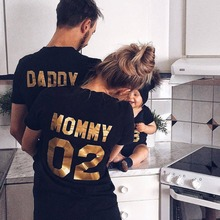 Family Matching Clothes 2017 Hot Sale Family Look Cotton T-shirt DADDY MOMMY KID BABY Funny Letter P