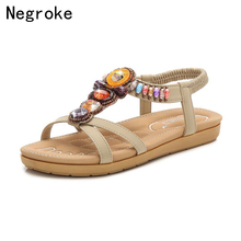 New Bohemia Women Sandals Handmade Crystal Summer Shoes Woman Gladiator Beach Flat Casual Flip Flops Ladies Sandalias Mujer 2017 summer flat sandals ladies bohemia beach flip flops gladiator women shoes sandles platform zapatos mujer sandalias 5868w