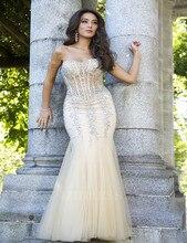 Vestido De Festa Reizvolle Schatz Sleeveless Wulstiger Luxus Champagne Abendkleider Durchsichtig Prom Kleider Für Frauen