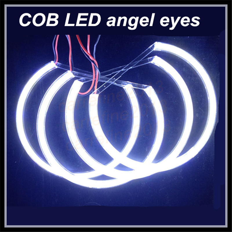 цена на 4x131mm led cob angel eyes for BMW E46 E36 E38 E39 projector white COB halo ring headlights for BMW car styling DRL angel eyes