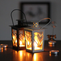 Classic Stand Lantern Retro Style Candle Holder Wedding Lantern Party Decoration Romantic Feelings White & Black colors