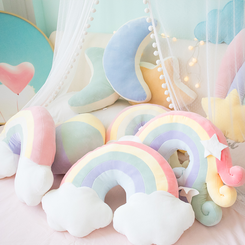 candy color cloud star moon rainbow pillow round shape stuffed soft ball pillow cushion home sofa decor pillow gift for friend
